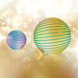 Kerstmisballen op abstracte achtergrond. Royalty-vrije Stock Afbeeldingen