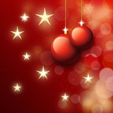 Kerstmisballen in rood Royalty-vrije Stock Foto's