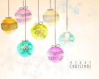 Kerstmisballen voor Vrolijke Kerstmisviering Royalty-vrije Stock Foto