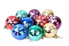 Kerstmisballen zeven Stock Afbeeldingen