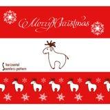 Kerstmisbanner en naadloos patroon met herten Stock Afbeelding