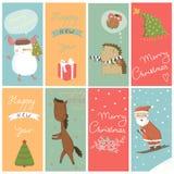 8 Kerstmisbanner met beeldverhaalkarakters Stock Afbeeldingen