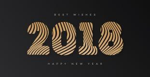 Kerstmisbanner met gouden stijl van het teken 2018 de gelukkige nieuwe jaar op zwarte achtergrond voor uitnodiging Stock Afbeeldingen