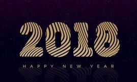 Kerstmisbanner met gouden stijl van het teken 2018 de gelukkige nieuwe jaar op zwarte vakantieachtergrond Royalty-vrije Stock Afbeeldingen
