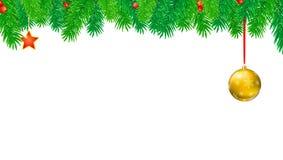 Kerstmisbanner met spartakken en rode bessen Feestelijke atmosfeer Editable vector 3D illustratie Malplaatje voor vector illustratie
