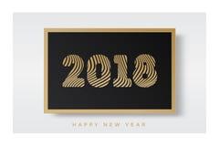 Kerstmisbanner 2018 op gouden stijl van het kader de gelukkige nieuwe jaar op witte achtergrond voor decoratie Stock Afbeeldingen