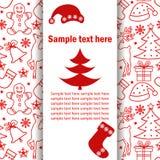 Kerstmisbanner, prentbriefkaar met een Kerstmispatroon, plaats voor tekst op een witte achtergrond, schaduweffect Stock Afbeeldingen