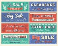 Kerstmisbanners met verkoopaanbieding Stock Afbeeldingen