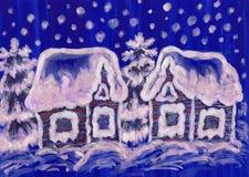 Kerstmisbeeld op blauwe achtergrond royalty-vrije illustratie