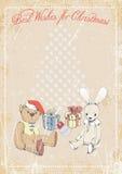 Kerstmisbeelden op grungeachtergrond met ruimte voor tekst Illustratie Stock Illustratie