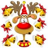 Kerstmisbeeldverhaal van de rendierpret met Klokken Stock Foto's