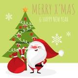 Kerstmisbeeldverhaal van Santa Claus-de doos van de holdingsgift, Kerstboomsneeuwvlokken en mas van Vrolijk X ? royalty-vrije illustratie