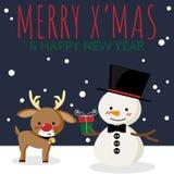 Kerstmisbeeldverhaal van Sneeuwman, rendier, giftvakje en van VROLIJK X ?MAS & GELUKKIGE NIEUWJAARteksten vector illustratie