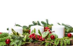 Kerstmisbelangrijkst voorwerp met witte kaarsen Royalty-vrije Stock Afbeelding