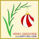 Kerstmisbericht met Ornament Royalty-vrije Stock Foto