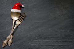 Kerstmisbestek op de achtergrond van het lijst abstracte voedsel Stock Foto