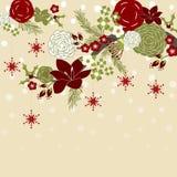Kerstmisbloemen en Takken Stock Afbeeldingen