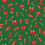 Kerstmisbogen, klokken, suikergoed naadloos patroon stock illustratie
