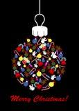 Kerstmisbol met Kerstmisornamenten Royalty-vrije Stock Afbeeldingen