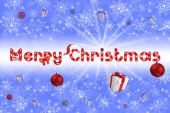 Kerstmisbol op grijze achtergrond met sneeuw Royalty-vrije Stock Afbeelding