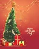 Kerstmisboom met giften voor Kerstmisviering Royalty-vrije Stock Foto's
