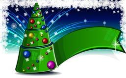 Kerstmisboom met lint en ballen Royalty-vrije Stock Fotografie