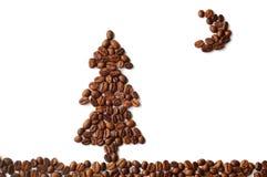 Kerstmisboom van de koffie bij nacht Stock Afbeelding