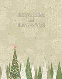 Kerstmisbos over grungeachtergrond, vector Stock Afbeelding