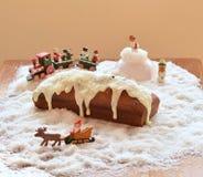 Kerstmiscake met de decoratie van het chtistmasspeelgoed Royalty-vrije Stock Foto