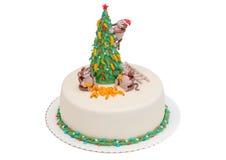 Kerstmiscake 2016 met gelukkige aap, bananen en Royalty-vrije Stock Foto's