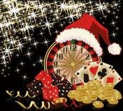 Kerstmiscasino en gelukkige nieuwe jaarkaart Royalty-vrije Stock Foto