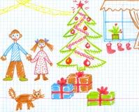 Kerstmiscijfer van kinderen. Royalty-vrije Stock Afbeeldingen