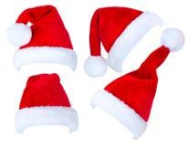 Kerstmiscollage van Santa Claus-hoeden Royalty-vrije Stock Afbeeldingen