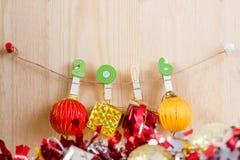 Kerstmisconcept, abstracte achtergrond voor gelukkig nieuw jaar 2016 Stock Fotografie