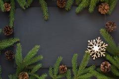 Kerstmisconcept met sneeuwvlokken, denneappels en sparrentak op zwarte achtergrond Hoogste mening Royalty-vrije Stock Afbeelding
