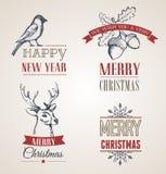 Kerstmisconcept met typografie en linten Royalty-vrije Stock Foto's