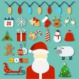 Kerstmisconcept met vlakke pictogrammen en Kerstman Stock Foto