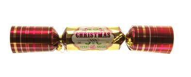 Kerstmiscracker met geruit Schots wollen stofpatroon Stock Fotografie