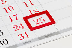 Kerstmisdatum op kalender Royalty-vrije Stock Foto's