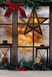 Kerstmisdecoratie, atmosferische vensterdecoratie Royalty-vrije Stock Fotografie