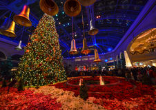Kerstmisdecoratie bij Bellagio hotelserre en botanische tuin Royalty-vrije Stock Foto