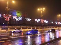 Kerstmisdecoratie bij het Parlement Huis, Boekarest, Roemenië stock videobeelden