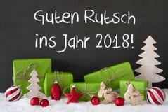 Kerstmisdecoratie, Cement, Sneeuw, Guten Rutsch 2018 Middelennieuwjaar Royalty-vrije Stock Fotografie