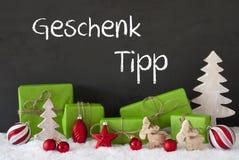 Kerstmisdecoratie, Cement, Sneeuw, het Uiteinde van de de Middelengift van Geschenk Tipp Stock Foto's