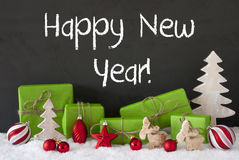 Kerstmisdecoratie, Cement, Sneeuw, Tekst Gelukkig Nieuwjaar Royalty-vrije Stock Foto's