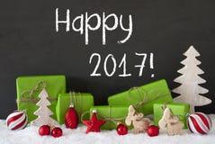 Kerstmisdecoratie, Cement, Sneeuw, Tekst Gelukkige 2017 Royalty-vrije Stock Afbeeldingen