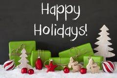 Kerstmisdecoratie, Cement, Sneeuw, Tekst Gelukkige Vakantie Stock Foto's