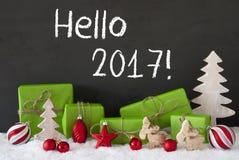 Kerstmisdecoratie, Cement, Sneeuw, Tekst Hello 2017 Stock Fotografie
