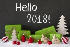 Kerstmisdecoratie, Cement, Sneeuw, Tekst Hello 2018 Royalty-vrije Stock Afbeelding