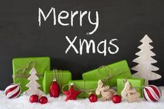 Kerstmisdecoratie, Cement, Sneeuw, Tekst Vrolijke Kerstmis Stock Afbeeldingen